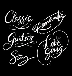 Love song and romantic hand written typography vector