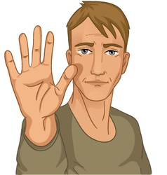 Man making stop gesture vector