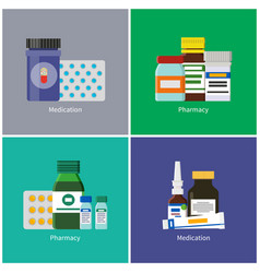 Medication and pharmacy set vector