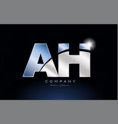 Metal blue alphabet letter ah a h logo company vector