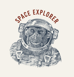 Monkey astronaut in a spacesuit label chimpanzee vector