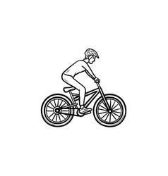 mountain biker hand drawn outline doodle icon vector image