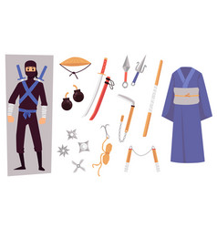 ninja character with weapon and clothing cartoon vector image