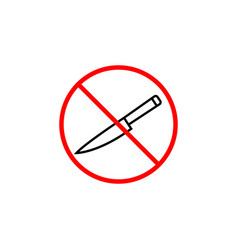 no sharp object line icon prohibition sign vector image