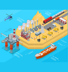 oil gas industry concept 3d isometric view vector image
