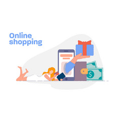online shopping concept woman paying online vector image