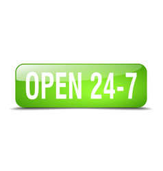 Open 24 7 green square 3d realistic isolated web vector