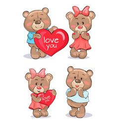 Pairs of soft fluffy teddies holds heart with text vector