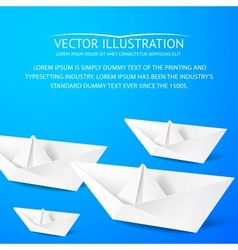 Paper boat on blue background vector