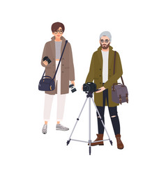 photographer and his assistant isolated on white vector image