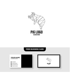 Pig logo template free business card mockup vector