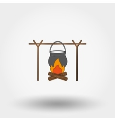 Pot on a campfire vector image