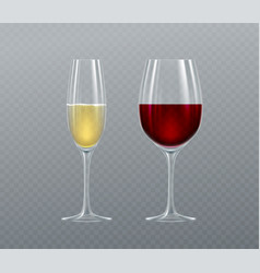 realistic glasses champagne and wine isolated vector image