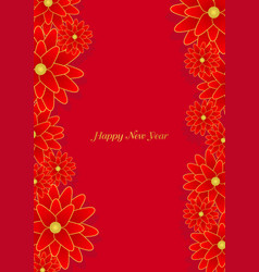 red lucky chinese flower frame vector image