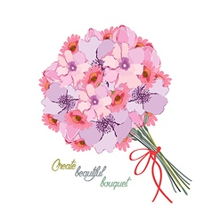 Romantic background with bouquet of peonies All vector