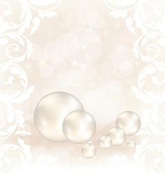 Romantic card with set pearl vector image