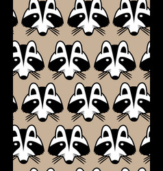Seamless background with raccoon muzzles vector