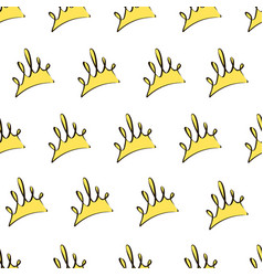 seamless pattern with yellow crowns on a white vector image