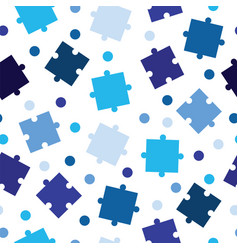 Seamless tileable pattern with blue puzzle pieces vector
