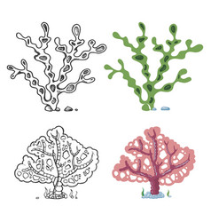 Seaweeds coloring page with bright sample - coral vector