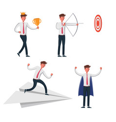set business man characters vector image