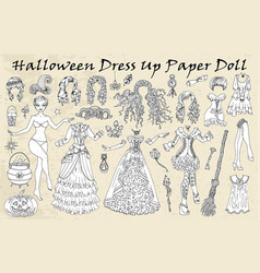 Set dress up paper doll with halloween witch cl vector