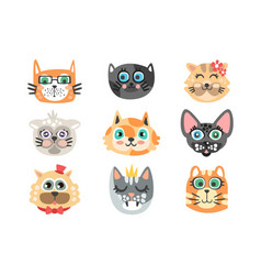 set funny cartoon cats heads cats different vector image