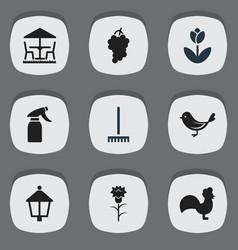 Set of 9 editable garden icons includes symbols vector