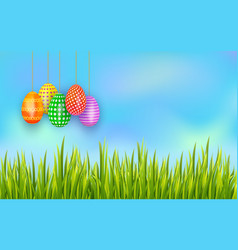 set of colorful easter eggs hanging on sky vector image