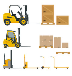 Set of orange forklifts with cardboard box vector