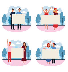 set of people with posters vector image