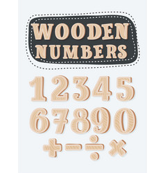 set of wooden numbers vector image