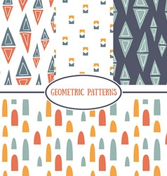 set seamless geometrical patterns vector image