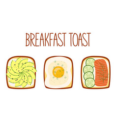 set toasts for breakfast with different vector image