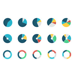Set wheel chart icons vector