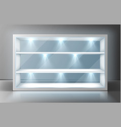 showcase with glass wall shelves and spotlights vector image