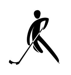 silhouette ice hockey player skating with stick vector image