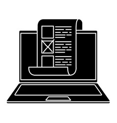 silhouette laptop computer for vote online vector image