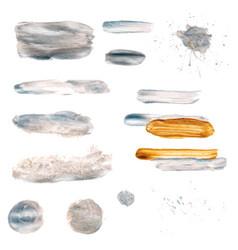 silver paint brush stroke set vector image