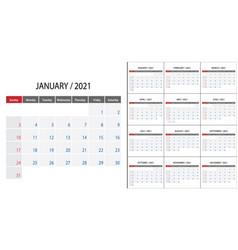 Simple calendar 2021 on english language week vector