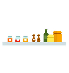 spices in jars on a shelf flat isolated vector image