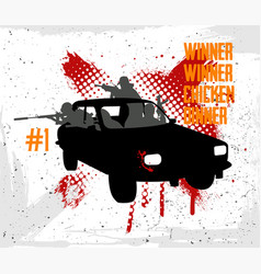 squad rides car and shoots vector image