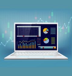 stock market data on laptop screen vector image