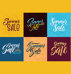 Summer sale hand writing words letters vector