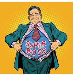 Super boss a fat man businessman hero vector