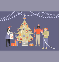 three young people decorating a christmas tree vector image