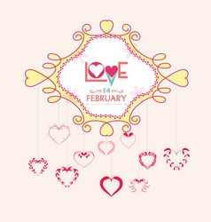 Valentine with hearts postcard vector