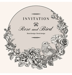 vintage round frame with birds and roses vector image