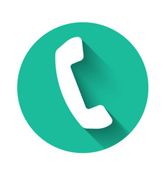 White telephone handset icon isolated with long vector