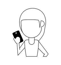 Woman using phone icon image vector